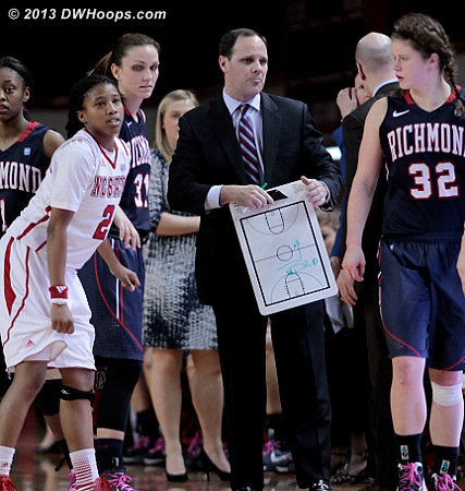Becca Wann (32) and Coach Shafer eventually realized that the Spiders impromptu huddle contained an exchange student!  - NCSU Players: #2 Le'Nique Brown