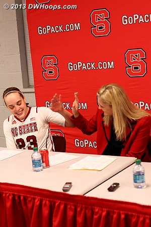 High five as Marissa has become the all-time Wolfpack Women leader in games played  - NCSU Players: Head Coach Kellie Harper, #23 Marissa Kastanek