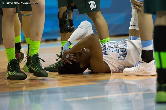 After scoring more than a point per minute, DeShields hit her head and needed to regroup.  - UNC Players: #23 Diamond DeShields