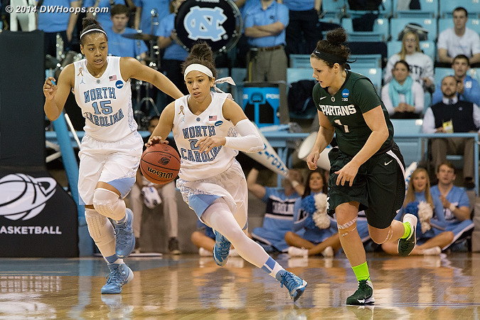 Another Carolina fast break, where they held a 17-4 scoring advantage.  - UNC Players: #15 Allisha Gray, #24 Jessica Washington