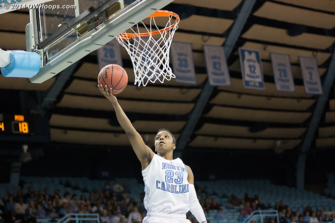 Diamond DeShields soared above all, scoring 24 points on 9-17 shooting and grabbing 12 rebounds  - UNC Players: #23 Diamond DeShields