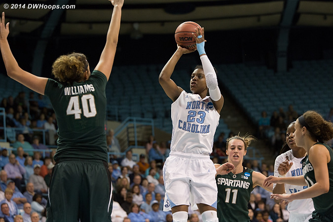 Diamond's pull-ups were deadly, both in transition and when finding gaps in the Michigan State zone  - UNC Players: #23 Diamond DeShields