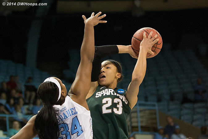 McDaniel defends Aerial Powers, MSU's leading scorer who was held scoreless from the field (she made 2 of 4 free throws)  - UNC Players: #34 Xylina McDaniel