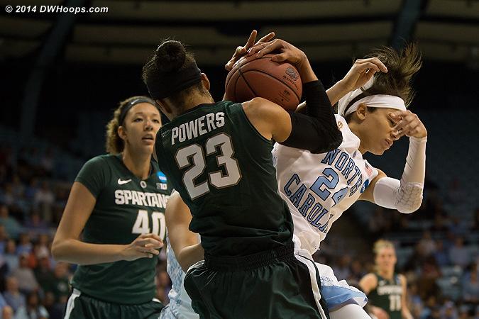 Powers seizes a rebound  - UNC Players: #24 Jessica Washington