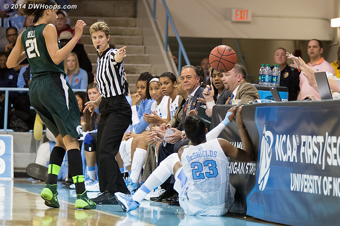 DeShields hit the scorers table hard, no foul was called and she was OK  - UNC Players: #23 Diamond DeShields