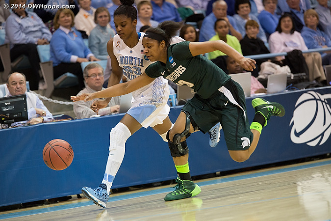 Diamond and Branndais Agee battle for the ball on the sidelines in front of supervisor of officials Tommy Salerno  - UNC Players: #23 Diamond DeShields