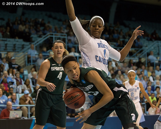 Mavunga was an effective stopper inside with two blocks, a steal, and multiple shot redirections  - UNC Players: #1 Stephanie Mavunga