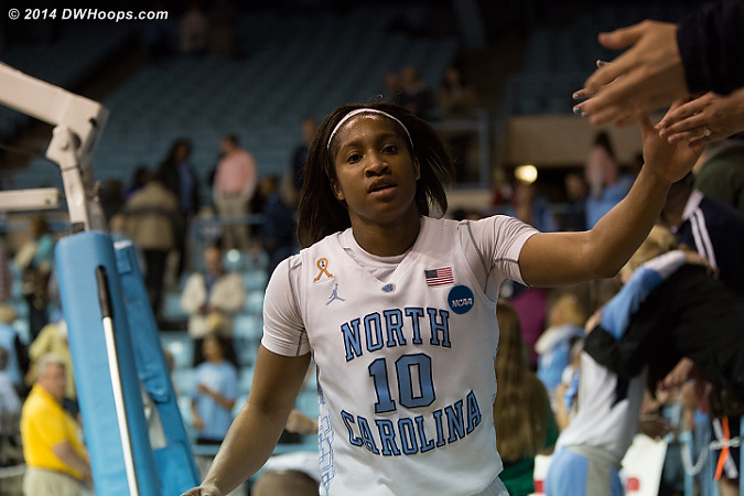 Post game high fives with the fans are a Carolina tradition  - UNC Players: #10 Danielle Butts