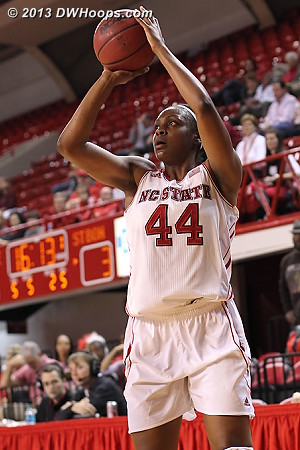 Burke fires from the wing, a position that she worked hard on over the summer  - NCSU Players: #44 Kody Burke