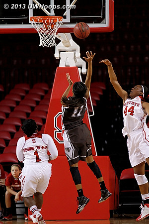 The State defense parts for Hannah Little, who missed the layup