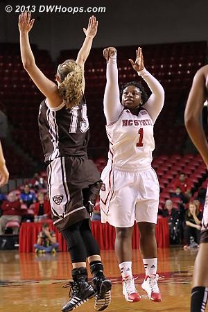MGC was 3-9 from behind the arc  - NCSU Players: #1 Myisha Goodwin-Coleman