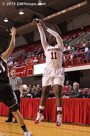 Mathurin shoots a corner three  - NCSU Players: #11 Jennifer Mathurin