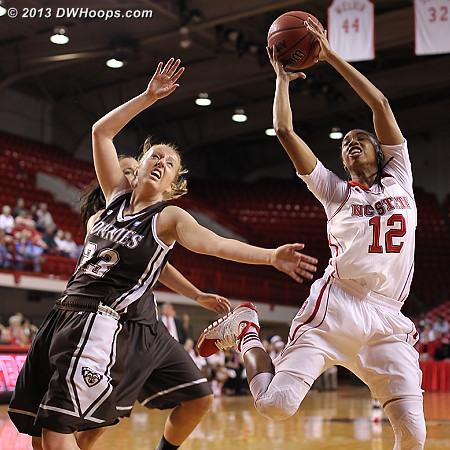 Barrett grabs a rebound  - NCSU Players: #12 Krystal Barrett
