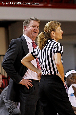 Wes Moore and Dee Kantner share a moment by the NC State bench  - NCSU Players: Head Coach Wes Moore