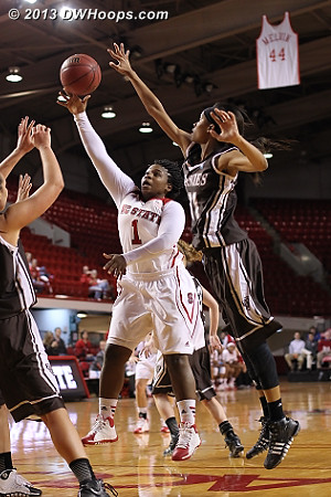 Goodwin-Coleman attacks the basket as Hannah Little (right) has other ideas  - NCSU Players: #1 Myisha Goodwin-Coleman