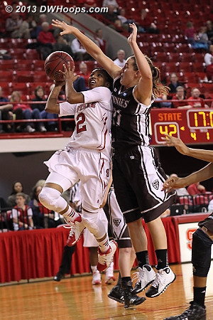 Le'Nique Brown bailed out with a foul on a 1 on 2 break  - NCSU Players: #2 Le'Nique Brown