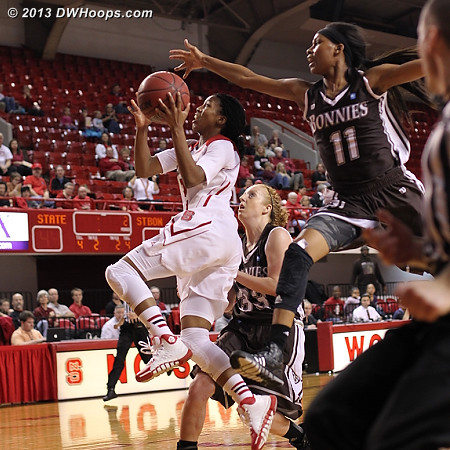 Brown caught from behind by Hannah Little with a spectacular blocked shot  - NCSU Players: #2 Le'Nique Brown