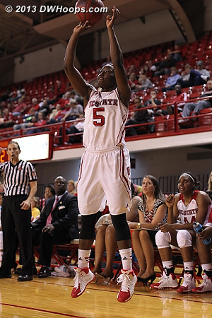 Breezy Williams had an efficient day, 8 points on 3-4 shooting plus four boards  - NCSU Players: #5 Breezy Williams