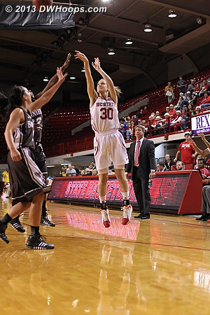 Walk-on Kaley Moser got a good look from three, but it was not on target  - NCSU Players: #30 Kaley Moser