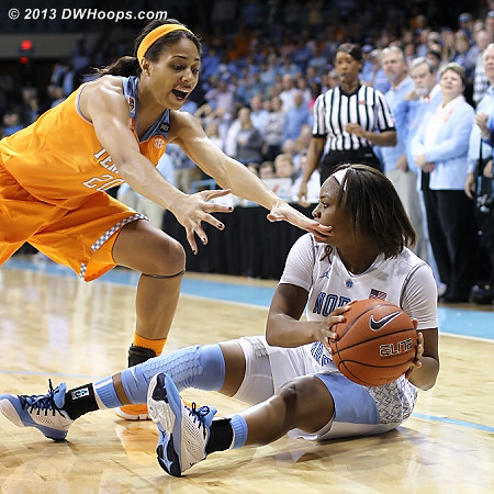 Isabelle Harrison goes after Brittany Rountree, who had snagged a defensive board  - UNC Players: #11 Brittany Rountree