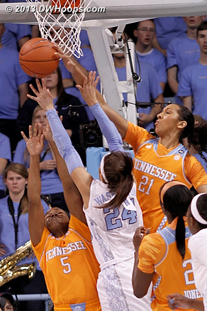 Mercedes Russell comes over the top to stop Jessica Washington  - UNC Players: #24 Jessica Washington