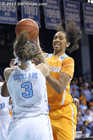 Buckland steals the ball from Russell  - UNC Players: #3 Megan Buckland
