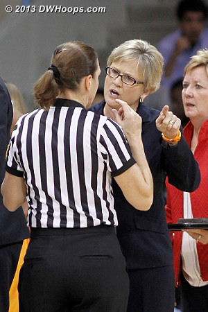 Holly Warlick makes a point to Sue Blauch - there was no shortage of foul calls in the early going