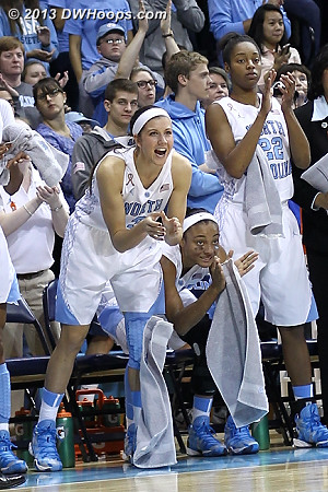 Cheering a Tar Heel defensive play from the bench  - UNC Players: #2 Latifah Coleman, #3 Megan Buckland, #22 N'Dea Bryant