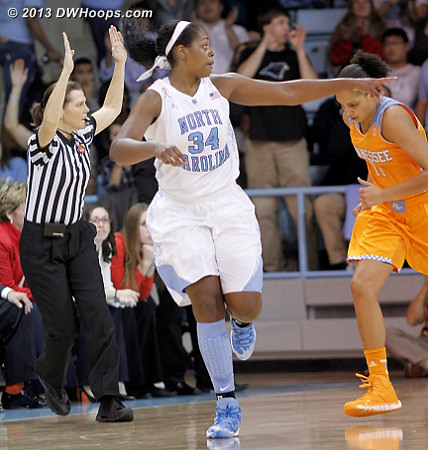 McDaniel thanks Gray after hitting a three pointer, cutting the deficit to four  - UNC Players: #34 Xylina McDaniel