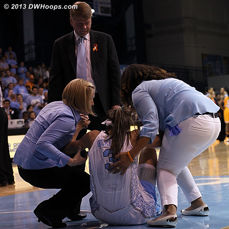UNC trainers help Megan Buckland up as coach Calder looks on.  Buckland had heavy ice on her hurt knee after the game.  - UNC Players: Assistant Coach Andrew Calder, #3 Megan Buckland