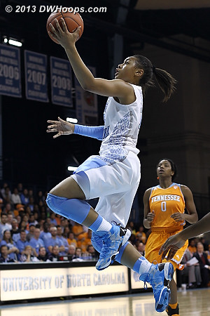 Freshman Alisha Gray notched a double-double, but it wasn't enough as the Heels fell to #4 Tennessee 81-65.