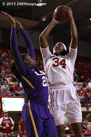 State's guards got the ball to Markeisha Gatling inside frequently, and LSU couldn't stop her  - NCSU Players: #34 Markeisha Gatling - LSU Tags: #21 Shanece Mckinney