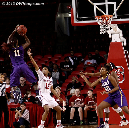 Moncrief scored on back to back jumpers in a trading baskets sequence  - NCSU Players: #12 Krystal Barrett - LSU Tags: #11 Raigyne Moncrief