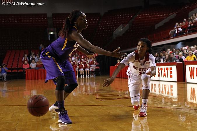 Entry pass  - NCSU Players: #2 Le'Nique Brown - LSU Tags: #11 Raigyne Moncrief