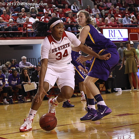 On this play, SEC first teamer Plaisance was no obstacle to a suddenly aggressive Gatling  - NCSU Players: #34 Markeisha Gatling - LSU Tags: #55 Theresa Plaisance