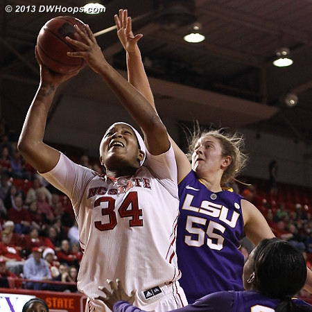 A stretch where Gatling took over, scoring 12 in a row for the Pack  - NCSU Players: #34 Markeisha Gatling - LSU Tags: #55 Theresa Plaisance