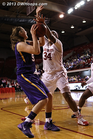 Coming off their contact, Gatling is whistled for foul #2  - NCSU Players: #34 Markeisha Gatling - LSU Tags: #55 Theresa Plaisance