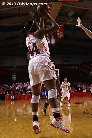 Burke scores a key midrange jumper during a stretch with Gatling on the bench  - NCSU Players: #44 Kody Burke