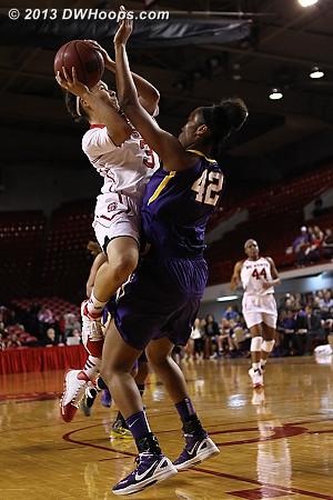 Boykin draws a charge  - NCSU Players: #3 Miah Spencer - LSU Tags: #42 Sheila Boykin