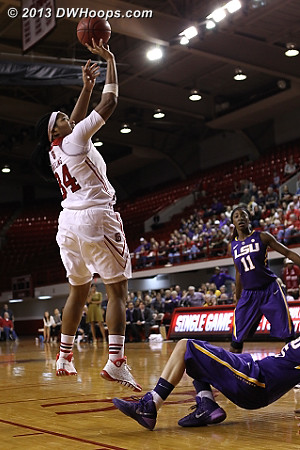 Foul #5 on Gatling was whistled on a play some referred to as a flop  - NCSU Players: #34 Markeisha Gatling - LSU Tags: #5 Jeanne Kenney