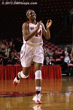 Burke celebrates while heading up court after the Mathurin layup  - NCSU Players: #44 Kody Burke
