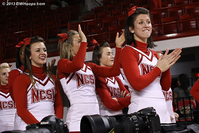 Getting ready to celebrate the upset  - NCSU Players:  NCSU Cheerleaders