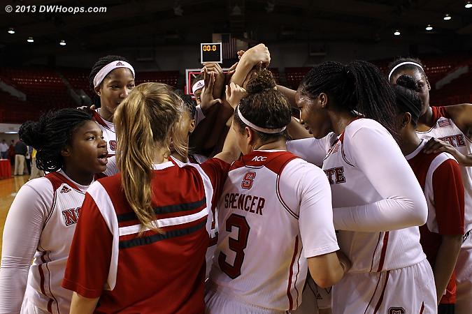 Wolfpack Women winning huddle  - NCSU Players: #99 NCSU Team
