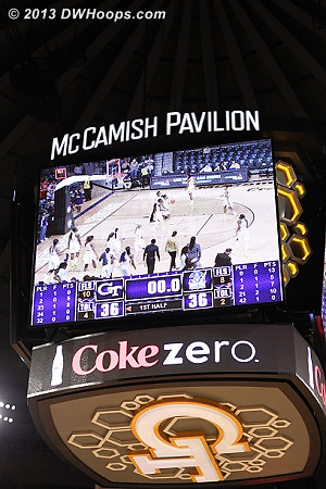 A halftime time on the magnificent McCamish Pavilion scoreboard - a fitting centerpiece for a gem of an arena.