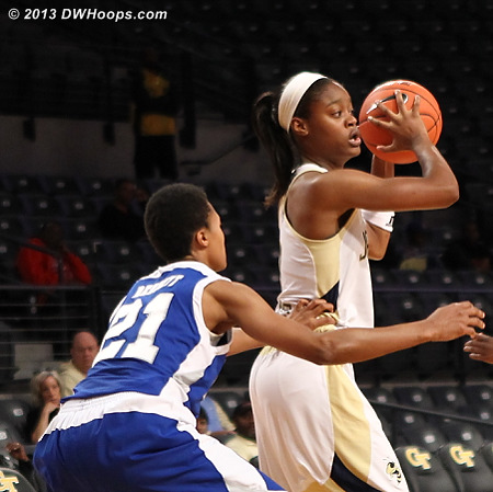Trying to keep Davis in check  - GT Players: #3 Kaela Davis