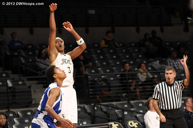 Davis came up empty behind the arc in the second half, but they were good looks  - GT Players: #3 Kaela Davis
