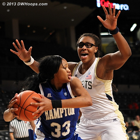 Fierce defense from Taylor on Brielle Ward, who to her credit didn't turn the ball over  - GT Players: #11 Nariah Taylor