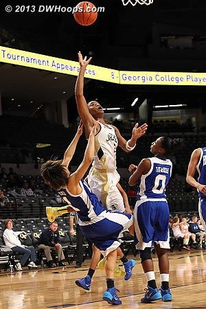 Foul #3 on Davis, a charge  - GT Players: #3 Kaela Davis