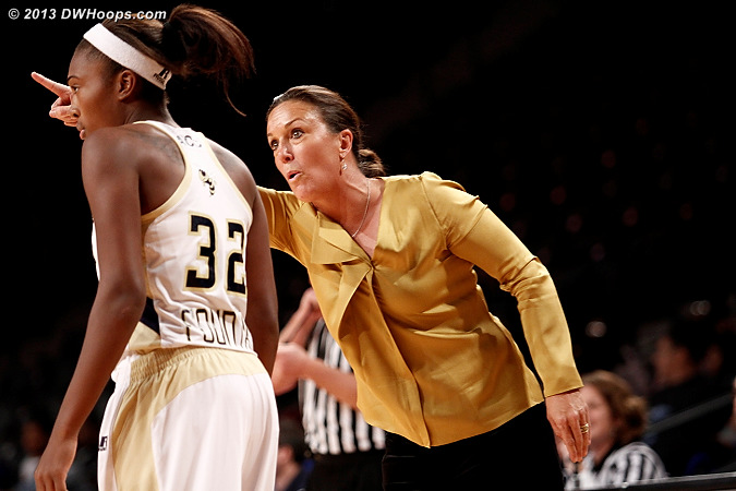 ACCWBBDigest Photo  - GT Players: Head Coach MaChelle Joseph, #32 Donnaizha Fountain