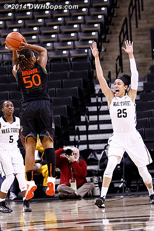 If you're a fan or have two first half fouls, just shout at the shooter.  This time, it worked!  - WAKE Players: #25 Dearica Hamby - MIA Tags: #50 Maria Brown